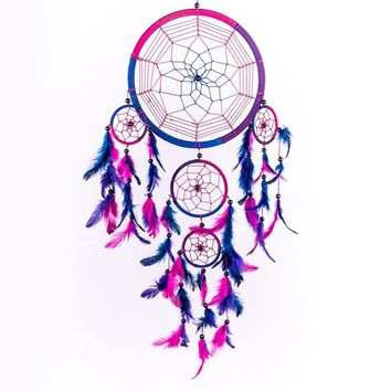 2017 Hot Selling Dream Catcher Circular Purple Feathers Wall Hanging Decoration Decor Craft Purple