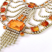Orange Rhinestone Statement Necklace  Autumn Harvest Retro Mad Men Party Jewelry