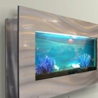 """Wall mounted aquarium 35""""x17"""" silver by Jersey Home Decor 50%off"""