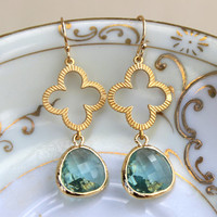 FREE US SHIPPING Prasiolite Earrings Green Gold Clover Quatrefoil Earrings - Bridesmaid Earrings Jewelry Bridal Earrings - Wedding Earrings