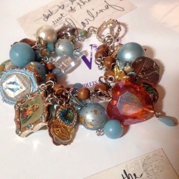 Vintage Religious Charm Bracelet Catholic Medals, Rosary Beads, Religious Icons