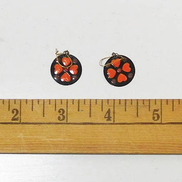 Stained Glass Look Earrings, Hippie Jewelry, Black, Orange, Brown, Boho Earrings, Small Round Drop, Never Worn, Vintage Costume Jewelry