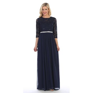 Navy Blue Three-Quarter-Sleeve Long Formal Dress A-line