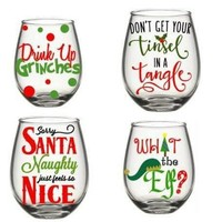 Christmas Wine Glass Set, Christmas Wine Glass