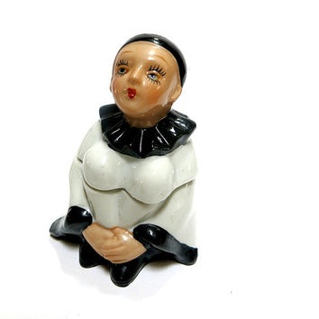 Black & White Harlequin Clown Ceramic Box Hand Painted Pierrot Figure