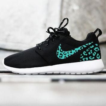 Custom Nike Roshe Run sneakers, tiffany blue cheetah print, leopard print, womens cust