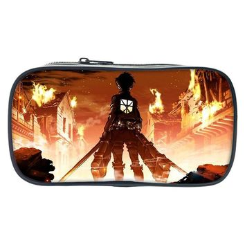 Cool Attack on Titan Hot Japan Anime  Printed Pencil Book Case Eren Make Up Bags For Girl Boys Children Cartoon School Supplies Wallet AT_90_11