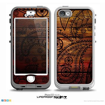 The Tattooed WoodGrain Skin for the iPhone 5-5s NUUD LifeProof Case