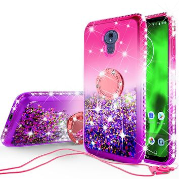 Glitter Phone Cover Kickstand Compatible for Motorola Moto G7   Tmobile REVVLRY Plus Case, Ring Stand Liquid Floating Quicksand Bling Sparkle Protective Girls Women - Hot Pink Gradient