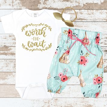 Gold Worth The Wait Newborn Outfit