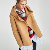 COAT WITH WRAP COLLAR DETAILS