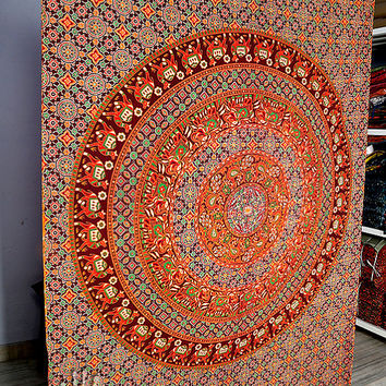 Twin mandala Elephant Hippie Tapestry, Hippie Mandala Wall Hanging, Cotton Bedspread Bed Cover, Boho Ethnic Mandala Tapestry,gypsy tapestry
