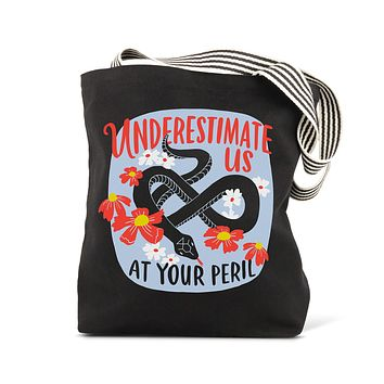 Underestimate Us At Your Peril Black Bag with Snake and Flower Design