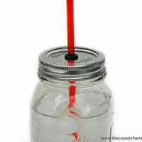 The Country Barrel —  1 DIY Mason Jar To-Go Tumbler Lid - Red