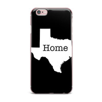 "Bruce Stanfield ""Texas State Outline"" Black White iPhone Case"