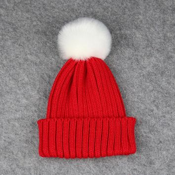 2017 Candy Color New Winter Knitted Baby Hat Cap Warmmer Girls Boys Beanies Thick Children Hats Solid Cute Wool Ball Kids Bonnet
