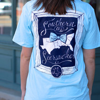 Southern As Seersucker Tee by LAUREN JAMES {Blue}