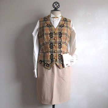 Escada Vintage 80s Vest Dapper Beige Plaid Embroidered Wool Dress Vest 34
