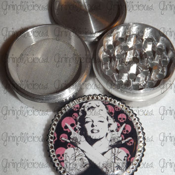 Marilyn Monroe Tattooed Horns Skull Crystals 4 Piece CNC Aluminum Pollen Herb Grinder Grinders