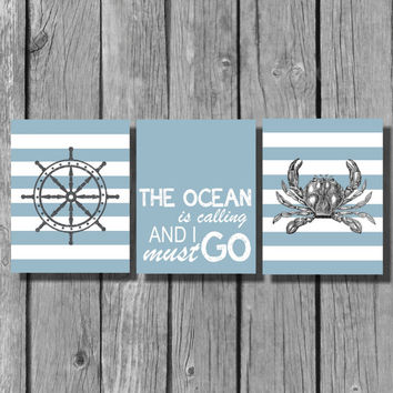 "Nautical Wall Art/Home Decor Prints/Bathroom Wall Decor/Ocean Themed wall art/Set of 3 8""x10"" Prints"