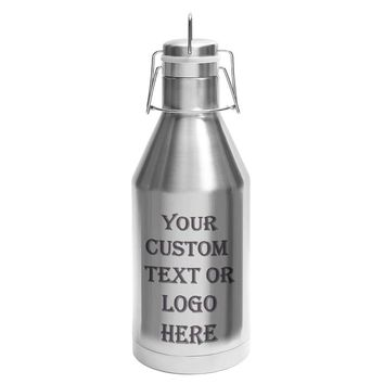 Customized 3D Laser Engraved Personalized 64 oz Custom Chrome Stainless Steel Insulated Beer Cider Growler - Christmas Holiday birthday anniversary wedding gift