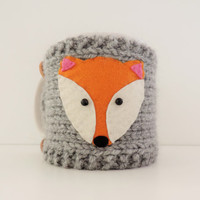 Fox Mug Cozy , Grey Cup Cosy , Mug Warmer Knitted , Yarn Button , Fox Mug Warmer