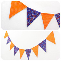 Nautical Flag Banner Fabric Bunting Pennant Room Decor Double-sided Birthday Party Photo Prop Baby Room // Navy Anchors & Orange Polka Dot