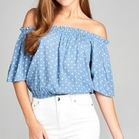 Ladies fashion short sleeve off the shoulder w/elastic hem dot print rayon crinkle gauze woven top
