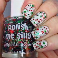 HOLIDAY-Jolly Me Silly : Custom-Blended Glitter Nail Polish / Indie Lacquer
