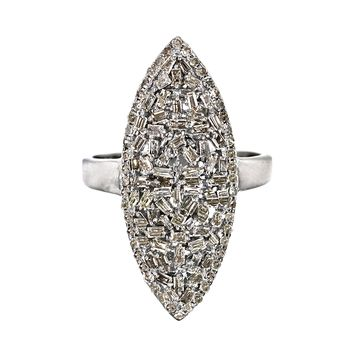 1.23ct Champagne Diamonds in 925 Sterling Silver Marquise Cocktail Ring