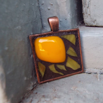 Sun Pendant, Framed Pendant, Fused Glass Pendant, Yellow Glass Pendant, Mosaic Pendant
