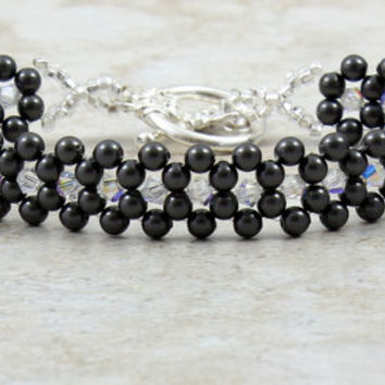 Pearl Bracelet Black Swarovski Crystal Beaded