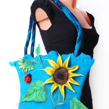 Pretty spring bag, large felted tote bag,  with sunflower and ladybug,purse, Flowers Handbag, nature, Nuno felt art handmade Nunofelt
