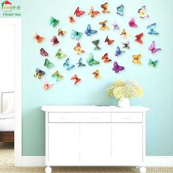 Big butterfly flowers vinyl wall stickers home decor DIY living room sofa 3D Design art decals House Decoration Wallpaper