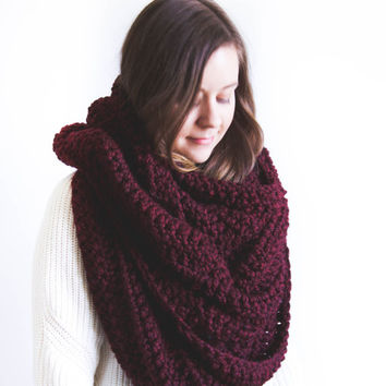 Large Chunky Knit Blanket Infinity Scarf Neck Warmer | THE OLYMPIA | Wine