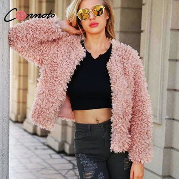 Conmoto Plus Size S-3XL Teddy Fluffy Pink Faux Fur Coat Women 2018 Winter Warm Plush Fur Coats Jacket Harajuku Shaggy Coats