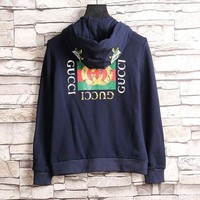 ONETOW GUCCI Flower Embroidery Hooded Casual Long Sleeve Cardigan Jacket Coat