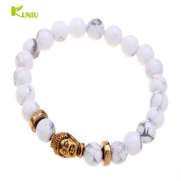 Natural Volcanic Rock Beads Bracelet 8mm Tibet Gold Color Skull Lucky Man Women Bracelet Sale Jewelry