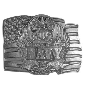 Sports Accessories - Navy Seal on Flag Antiqued Belt Buckle