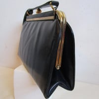 31b01a5ea7 50s Mastercraft Leather Handbag Kelly Style Small Navy Blue 1950s Ladies Top  Handle Purse Made in