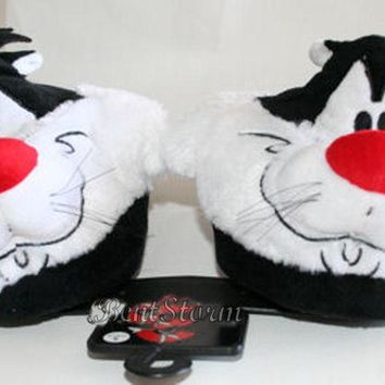Licensed cool Warner Bros. Looney Tunes Sylvester Cat Adult Plush slippers Tweety Bird Friend