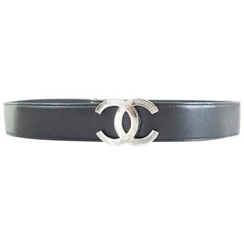 Chanel Black Leather Belt with Silver Logo Buckle - 32