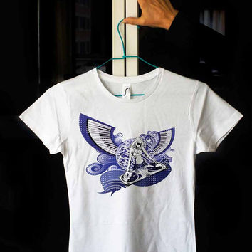 DJ Woman Angel Wings Play Music Blue Sound White 100% cotton T shirt T-shirt Tee Digital Print