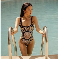 Versace New fashion more print vest one piece bikini swimsuit Black