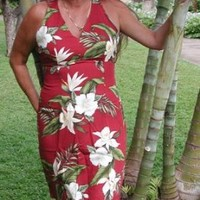 Sexy Halter - White Orchid Hibiscus Women's Fitted Dress