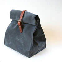 Charcoal Gray Waxed Canvas Lunch Bag Tote with adjustable leather shoulder strap, overlap