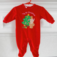 Vintage Baby First Christmas Bodysuits Gently Used Baby Clothes Newborn Size 3 Month Red Infant Romper All in One Bodysuits Tacky Christmas