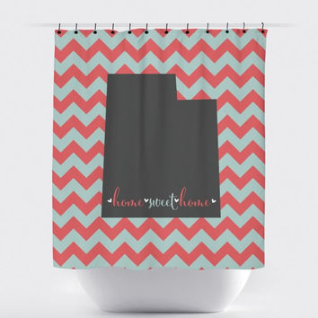 Home Sweet Home Teal/Coral Chevron Shower Curtain