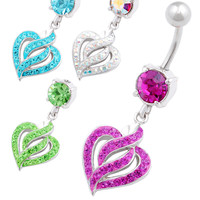 Signature Design Heart Dangle Crystal Belly Button Ring [Gauge: 14G - 1.6mm / Length: 10mm] 316L Surgical Steel & Crystal For Girls  (Various...