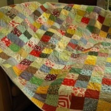 Patchwork quilt--picnic size--Warm Earthtone --81 X 81--blanket--thicker batting